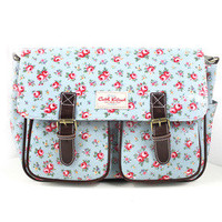 Vintage Floral Canvas Messenger Bag