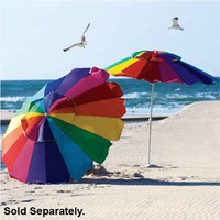 Rainbow 8&#x27; Beach Umbrella with Carry Bag, Umbrella UPF 50+ with Tilt - Fiberglass Ribs