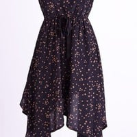 Star Print Strapless Dress with Irregular Hemline - OASAP.com