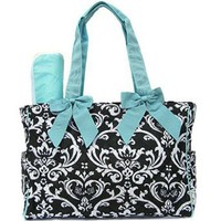 Damask Print Quilted Diaper Bag Tote Purse 2 Piece Set w/ Changing Pad (blue)