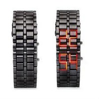 GGI International Men`sLava Black Stainless Steel Lava RED LED Digital Bracelet Watch: Watches: Amazon.com