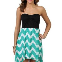 strapless high low dress with cinched bust and chevron print skirt - 1000047290 - debshops.com
