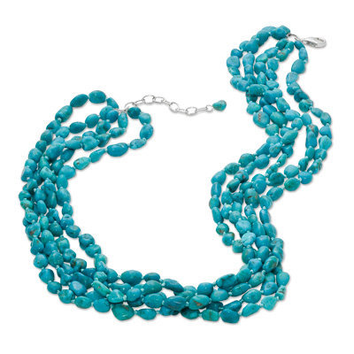 "Turquoise Five Strand Necklace in Sterling Silver - 20"" - View All Necklaces - Zales"