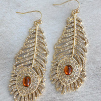 Golden Peacock Earrings [3926] - $21.00 : Vintage Inspired Clothing &amp; Affordable Summer Frocks, deloom | Modern. Vintage. Crafted.