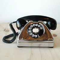 ANTIQUE TELEPHONE CHROME ART DECO VINTAGE PHONE US ARMY RESTORED EUC