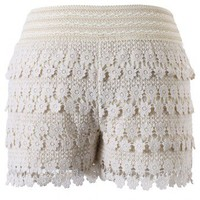 Daisy Crochet Shorts in Beige