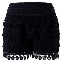 Daisy Crochet Shorts in Black