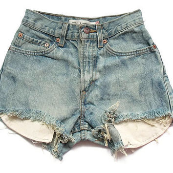 High waisted Levi cut offs XS by deathdiscolovesyou on Etsy