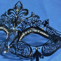 Laser Cut Metal Venetian Mask Black with Rhinestone