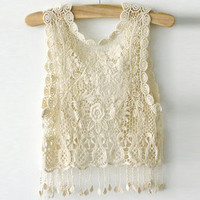 Lace Short coat hook flower hollow out vest