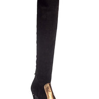 Laurence Dacade - Black/Gold Stretch Suede Over-the-Knee Boots