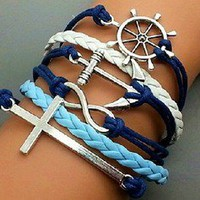 Crosses, anchors, rudders bracelet