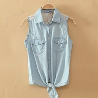 Light Blue Denim Shirt With Lace