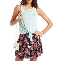 Studded Lace Inset Tie-Front Tank: Charlotte Russe
