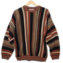 Cozy Brown Stripe Cosby Style Tacky Ugly Sweater Men&#x27;s Size Medium (M) $25 - The Ugly Sweater Shop