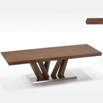 Armen Living Obliq Rectangular Coffee Table with Wooden Top in Warm Acorn Brown - LCB222COBA - Accent Tables - Decor