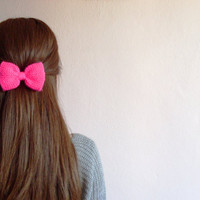 Hand Knit Bow Hair Clip in Neon Pink