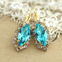 Aquamarine blue  Crystal earring chic jewelry - 14k plated gold earrings real swarovski rhinestones.