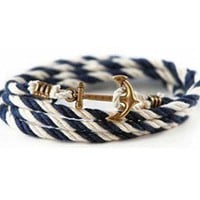Anchor braided rope bracelet