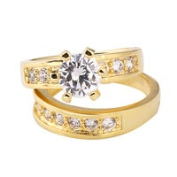 Gold Tone Rhinestone Band Couple Rings at Online Jewelry Store Gofavor
