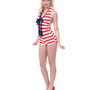 LOLITA GIRL Red &amp; White Stripe One Piece Admiral Romper Swimsuit - Unique Vintage - Prom dresses, retro dresses, retro swimsuits.