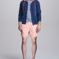 Two-Tone Zip Hoodie, Striped Jersey Polo &amp; Check Swim Trunks