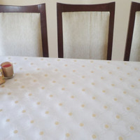 Handmade tablecloth, table cloth, wedding decoration, home decoration, party accessory, spring, gold color table cloth, decor, garden party,