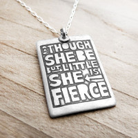 Motivational quote necklace Shakespeare silver by lulubugjewelry