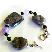 Amethyst, Faceted Pietersite and Onyx Gemstone Designer Bracelet