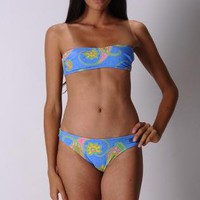 ROGUE Blue Paisley Two Piece Strapless Brazilian Bikini