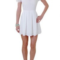 White Capsleeve Dress with Lace Overlay and Beaded Collar