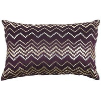 Purple &amp; Gold Sequin Zig Zag Pillow