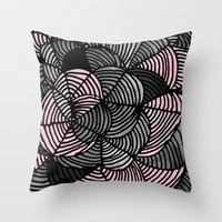 Abstract Pattern - Gray &amp; Pink Throw Pillow by Georgiana Paraschiv