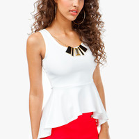 Hi Low Peplum with Necklace