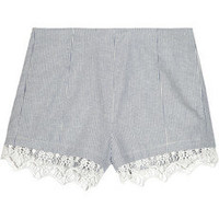 Rag &amp; bone|Clare striped cotton and linen-blend shorts|NET-A-PORTER.COM