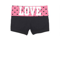 Pink Heart Print Yoga Short