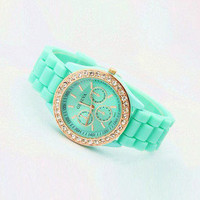 Rhinestone Mint Color Silicone Watch