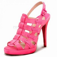 fuchsia sheepskin open toe lace up stiletto Sandal
