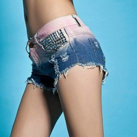 Set auger sequins gradient denim shorts