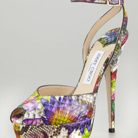 Jimmy Choo Lola Floral Python Platform Pump