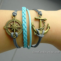 Compass BraceletAnchor BraceletCharm by goodlucky on Etsy