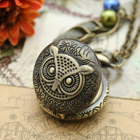 Vintage streampunk owl pocket watch necklace with by mosnos