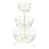 Vintage Cream 3 Basket Cake Stand | DotComGiftShop
