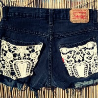 Vintage Levis Denim Cut Off Shorts Crochet by UnraveledClothing