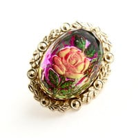 Vintage Flower Brooch - Gold Tone Filigree Pink Rose Costume Jewelry / Under Glass