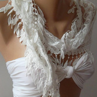 White - Elegance  Shawl / Scarf with Lacy Edge