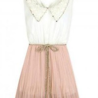 Sweet Pink Pleated Collar Dress
