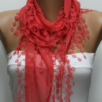 Amaranth Scarf  - Cotton  Scarf - Cowl Scarf - Shawl with Lace Edge   -