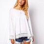 ASOS Oversized Top in Linen Nep with Lace Hem at asos.com