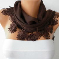 Brown Scarf  - Cotton  Scarf -  Cowl with Lace Edge   -